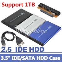 Wholesale NEW Colors Inch USB2 Pin IDE HD Hard Disk Drive HDD External Case Enclosure Box For Mac OS Notebook Laptop PC