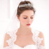 Wedding Hair Jewelry White Plant New Arrival Beaded Crystals Wedding Crowns 2016 Bridal Crystal Veil Tiara Crown Headband Hair Accessories Party Wedding Tiara Hot CPA490