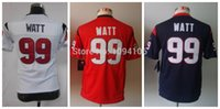 authentic kids brand - Factory Outlet Kids J J Watt Red Blue White New Brand Team Color Youth Authentic Boys Football Jerseys Chlid Jersey
