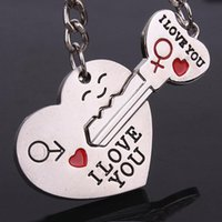 Wholesale 1Set Couple I LOVE YOU Keychain Heart Smile Keyrings Set Lover Birthday Gift New Valentine s Day O133