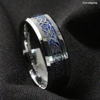 Al por mayor-8mm Plateado Dragón carburo de tungsteno para hombre del anillo de bodas de la joyería de la venda de envío gratuito