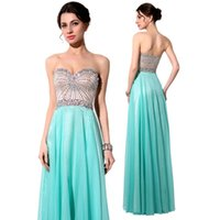 Cheap Aqua Prom Dresses Party Evening Gowns 2015 Sparkly Colored Crystals Sweetheart Beading Chiffon Elegant A Line Sexy Backless Homecoming Gowns
