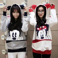 Wholesale 2077 Hot sales women loose hoodies coat Cartoon Graphic mickey Hooded Pullover Fashion Casual Thicken Sweatshirt Outerwear M L XL