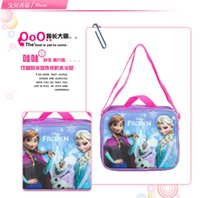Wholesale 100pcs AAA quality FROZEN color kid boy girl food backpack cartoon single shoulder bag lunch bag handbag Small Crossbody Bag gift top