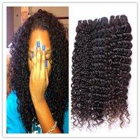 lot 8-28 les pouces Deep Curl brésilien Weave Couleur des cheveux 1B Remy Extension de cheveux disponibles