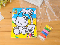 Wholesale 12pcs colorful sand painting cm drawing paper with small bags color sand K kindergarden drawing toys