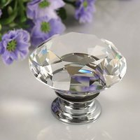 Wholesale 30mm Diamond Clear Crystal Glass Door Pull Drawer Knob Handle Cabinet Furniture