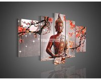 Cheap 5 Panel Wall Art Religion Buddha Oil Painting On Canvas Modern Chinese Prints Picture e2367
