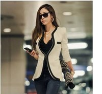Wholesale 2015 New Fashion Winter Women Slim Blazer Casual Long Sleeve V Neck Black White One Button Suit OL Outerwear Jacket Coat