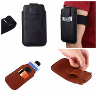 arm handbag - 3Size Universal Slim Leechee Phone Hip Arm band Leather For Iphone S S Plus Galaxy S6 Edge Plus S7 inch Belt Holster Case PU Pouch