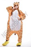 adult giraffe costumes - 2016 Cosplay giraffe Pajamas No Shoes Pajamas Hooded Conjoined Sleepwear Costumes Adult Unisex Onesie Soft Sleepwear CC071224