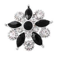Wholesale Fashion Snap Jewelry Button Flower Silver Tone Fit Fashion Bracelets Clear Rhinestone x25mm Knob Size mm Pc new