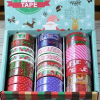 Wholesale 24 Roll Set Meters Holiday decorate hesive printed fabric tape cotton cloth washi Japan paper tape christmas promotion