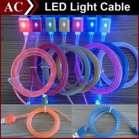 noodles - Visible LED Light Micro USB Cable m ft Flat Noodle Charger Sync Data Extra Charging Lighting Line Adapter High Speed For Samsung HTC Best