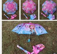 Wholesale the spot hot selling kids Frozen cartoon Straight shank folding children umbrella Christmas gift for girls