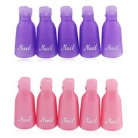 Wholesale 10pcs set Plastic Nail Art set Off Cap Clip UV Gel Polish nail Remover Tool Cleaner NAS_20G