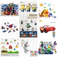 Wholesale Mix Order Removable Cartoon Wall Stickers for Kids Nusery Rooms Decorative Wall Decals Home Decoration Movie Wallpaper Wall Art d Window