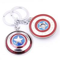 Wholesale Captain America Shield Rotatable Key Rings Keychain Men Key Chain Car Key Ring Good Quality Key Holder Keyring Key Ring