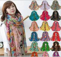 Wholesale fashion flower scarf women shawl foulard scarves for women chiffon silk scarf female cachecol feminino bufandas cape echarpe