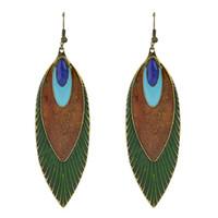 Wholesale Long Earrings Shape - New Fashion Ethnic Style Feather Shape Long Dangle Earrings For Women Indian Jewelry