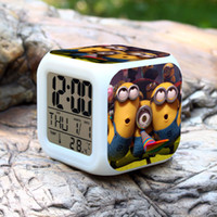 Wholesale New styles Minions Despicable Me LED colorful light alarm clock Table Clocks multifunction Night Light with time Calendar Temperature E23