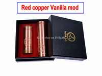 Wholesale Vanilla Mechanical Mod Red Copper Red Copper Material Mech Mod Vanilla Mod Clone for Thread Clearomizer VS Stingray Mod Battery Tube DHL
