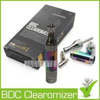 Wholesale ET S BDC Atomizer Dual Coil Tank Electroplating Rainbow Clearomizer Kits with Extra BDC Clearomizer Replacement Coils for eGo Ecig
