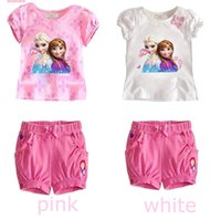 Cheap Summer Frozen Anna Elsa Dress Sophia Baby Girl Clothing Sets Girl's Short sleeve T Shirt + Short Pants Suits Kids Sets Children pajamas