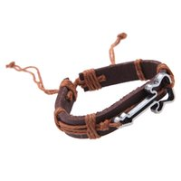 Wholesale Antique Genuine Leather Bracelets Hollow Guitar Charm Bracelet for Men Bracelets Bangles Jewelry