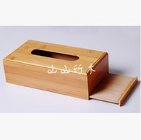 Wholesale Rustic bamboo tissue box cover wood drawer Quality flip type home decoration vintage Creative napkin holder