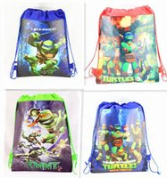 Wholesale Brand New top TURTLES kids Cartoon Drawstring Backpack Bag school bags lt Child Handbags lt school backpack Mixed styles Non woven34 CM