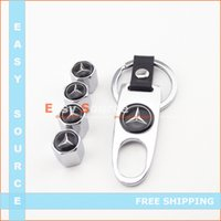 Wholesale Car Wheel Airtight Tire Stem Air Valve Cap Caps Fit for Mercedes Benz White set Air Dust Covers Tool Wrench Keychain A5
