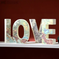Wholesale New coming special love painted letter handicraft kids room decor wooden creative map love home decoration