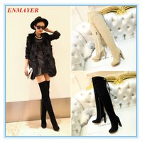 over the knee boots - ENMAYER solid knot high thin heel round toe fashion boots zip over the knee boots full grain leather winter boots for women