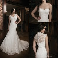 Wholesale 2014 New Collection Mermaid Lace Ivory Wedding Dress Bridal Gown With Lace Jacket Sweet heart Court Train Buttons Bridal Gowns