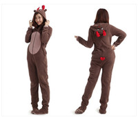 adult footed pajamas christmas - Fashion new cosplay Christmas Deer Fleece Cotton Adult Unisex Footed Pajamas Sleepsuit one piece pajamas adult onesie