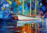 ba combinations - Cheap BA Oil Paintings Night View Boat In River Landscape Art Oil Paintings For Home Decor Wall Art