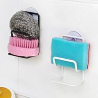 bamboo sponge holder - Iron Sink Sponge Brush Suction Wall Holder Double Bathroom Kitchen Washing Cleaning Item Multi purpose Storage Organizer