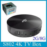 Wholesale S82 K TV BOX Video Amlogic S802 Quad Core Android Bluetooth Loaded Addons XBMC KODI Media Player OTH117