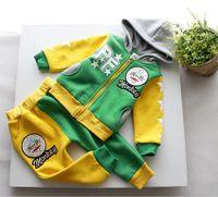 Wholesale DHL EMS FEDEX ARMAE Free Baby Boys Autumn Sport Set Monkey Cotton Fleece Hoodies Sweatshirt Pants Children Clothes Green Red K1648