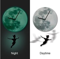 Wholesale Fashion Glowing Wall Clocks Exclusive Peter Pan Cartoon Nursery Moonlight Wall Pendulum Clock Luminous Glow in the Dark for Children Room E3