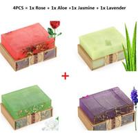 Cheap Lavender handmade soap 100g essential oil control acne face soap 4PCS Rose + Aloe + Jasmine + Lavender