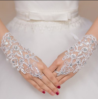beads accessories design - New Arrival Fashion Rhinestone Bridal Dress Long Design Gloves Bandage Fingerless Hollow lace Wedding Gloves Accessories