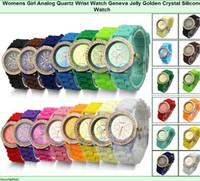 analog digital wrist watch fashion - Colourful fanshion shadow style Geneva Crystal edge watch rubber silicion Candy jelly diamond border Unisex Quartz Wrist Watches Free DHL