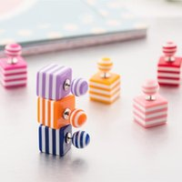Wholesale Cute candy stripe cube stud earrings double side pearl big ball earings fashion jewelry bohemian statement gifts for Women