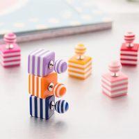 Stud earings - Cute candy stripe cube stud earrings double side pearl big ball earings fashion jewelry bohemian statement gifts for Women