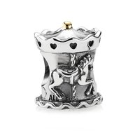 animal charms - 925 sterling silver Merry Go Round Engraved Running Horse Animal Charm Beads Fits European Style Women DIY Charm Bracelet LW331