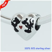 diy - Fashion Jewelry New Antique Sterling Silver Micky Minnie Kiss Love Charm Heart Loose Bead Fits European Diy Charm Bracelets CE473