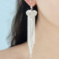 Wholesale Women Gold Silver Long Chain Tassels Earrings Rhinestone Love Heart Hook Dangling Linear Earrings pair E116