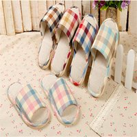 bear slippers men - 1pair Korean version simple striped linen men and women home slippers spring and indoor and outdoor flooring couple slippers